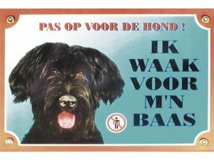 Waakbord gelamineerd Bouvier des Flandres blauw NL