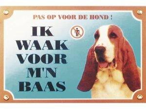 Waakbord gelamineerd Basset Hound blauw NL