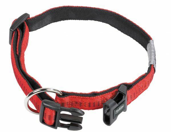 Halsband hond nylon Soft Grip rood 15mmx25-35cm