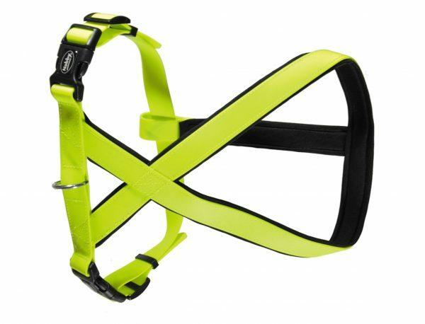 Harnas hond Biothane neon geel 20mmx35-50cm