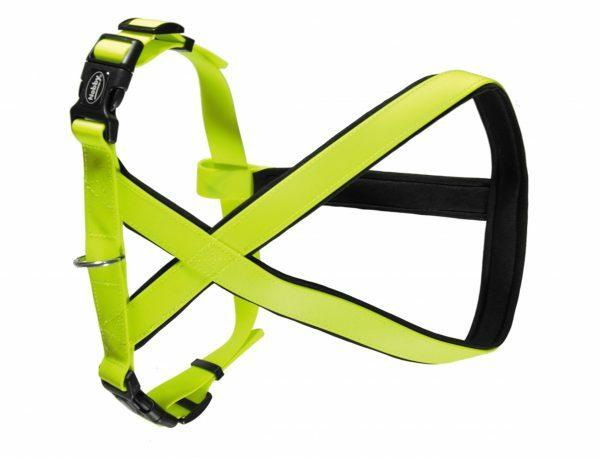 Harnas hond Biothane neon geel 20mmx30-40cm