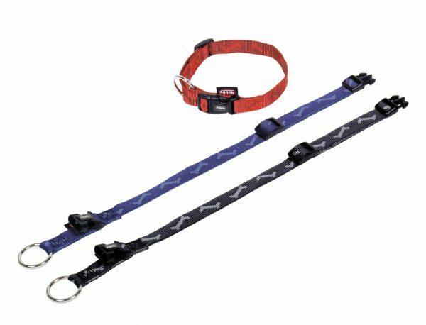 Halsband hond nylon Been zwart 25mmx40-65cm