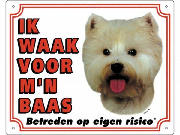 Waakbord PVc Westie wit NL