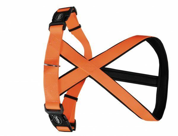 Harnas hond Biothane oranje 25mmx40-60cm