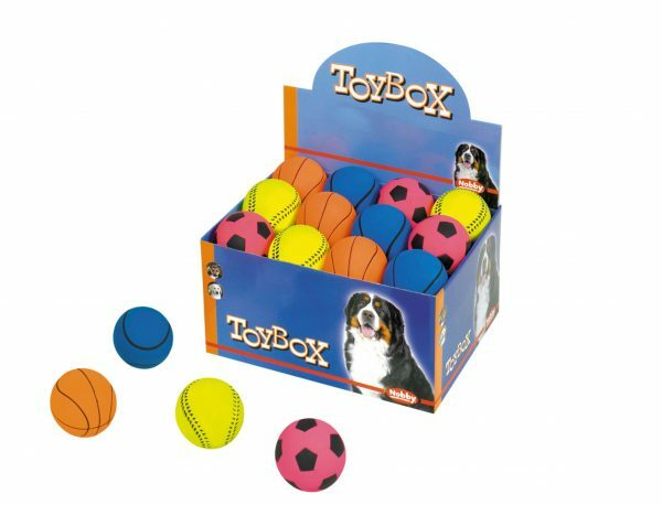 DIS24 Speelgoed hond gummi voetbal Ass. 7,2cm