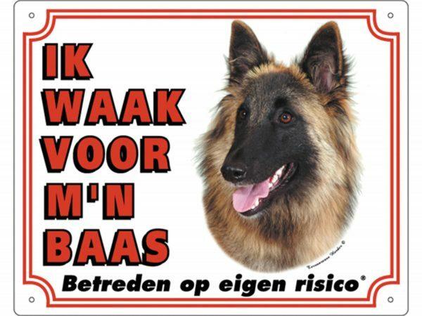 Waakbord PVc Tervuurse Belgische Herder wit NL