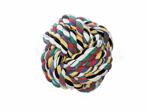 Speelgoed hond katoen bal multicolor 120gr 8cm M