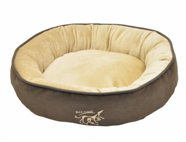 Hondenmand rond Softsilk bruin/beige Ø90cmx13cm