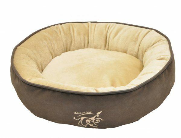 Hondenmand rond Softsilk bruin/beige Ø70cmx13cm