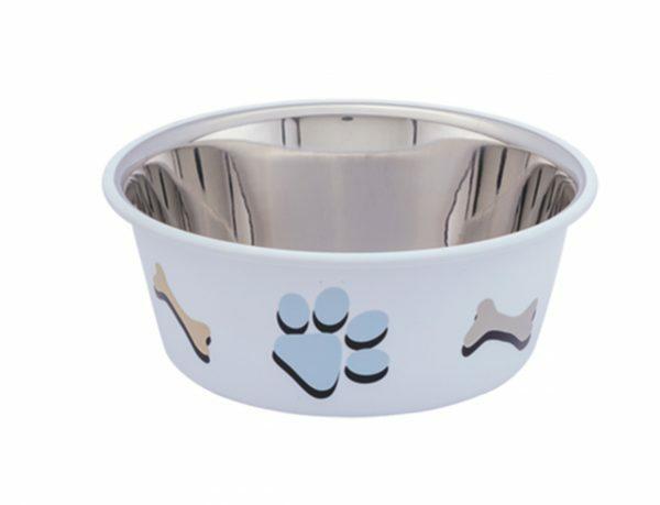 Eetbak inox antislip Cutie Paws wit 11,5cm 0,40L