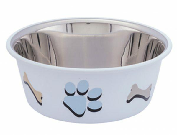 Eetbak inox antislip Cutie Paws wit 19,5cm 1,90L