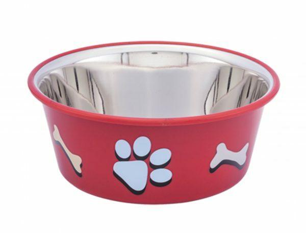 Eetbak inox antislip Cutie Paws rood 14,5cm 0,90L