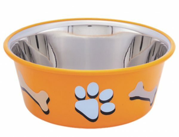 Eetbak inox antislip Cutie Paws oranje 19,5cm 1,9L