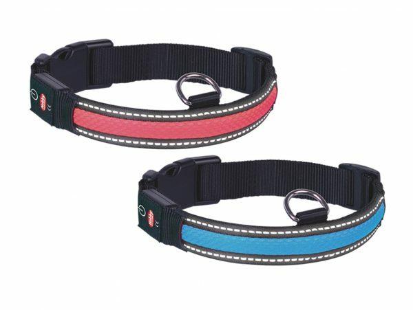 LED Halsband Flash Mesh blauw S 34-41cmx25mm USB