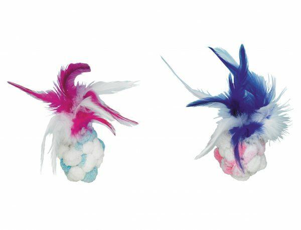 Pompom bal met bel,pluimen & catnip ASS