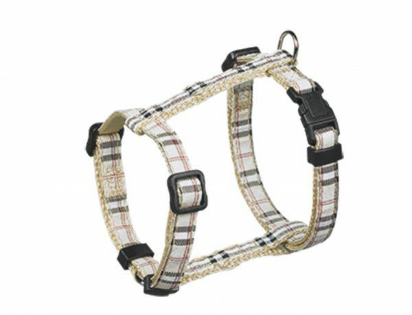 Harnas hond nylon Schotse Ruit beige 10mmx20-35cm