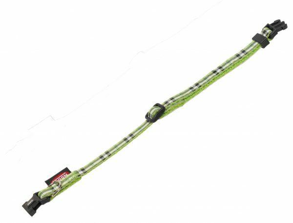 Halsband hond nylon Schotse Ruit groen10mmx13-20cm
