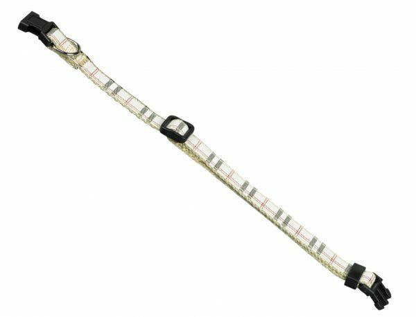 Halsband hond nylon Schotse Ruit beige10mmx13-20cm
