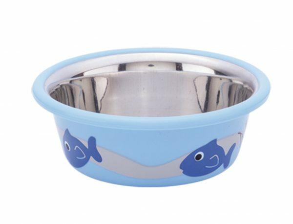 Eetbak inox antislip Cutie Fish blauw 9,5cm 0,25L