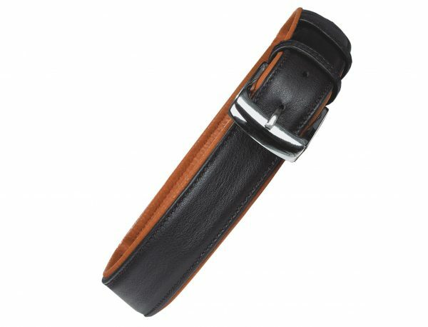 Halsband chara Leder zwart/cognac 55cmx30mm