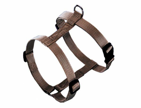 Harnas hond nylon Classic bruin 10mmx14-20cm