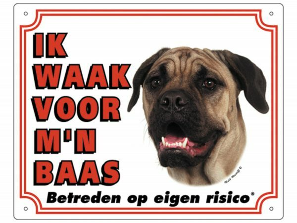 Waakbord PVc Bullmastiff wit NL