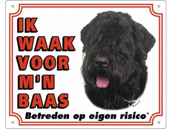 Waakbord PVc Bouvier des Flandres wit NL