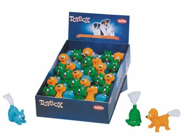 DIS36 Speelgoed hond latex dieren + touw Ass.8,5cm