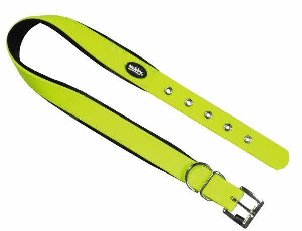 Halsband hond Biothane neon geel 25mmx40-50cm