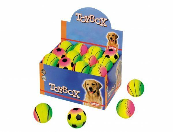 DIS24  Speelgoed hond gummi regenboogbal Ass.6,3cm