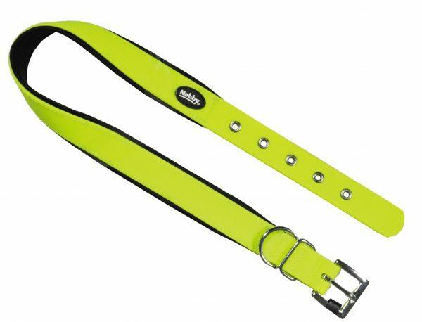 Halsband hond Biothane neon geel 20mmx30-40cm