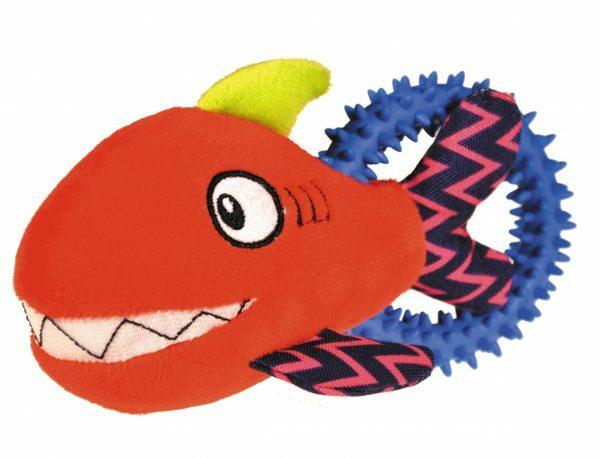 Speelgoed hond pluche haai rood 17cm
