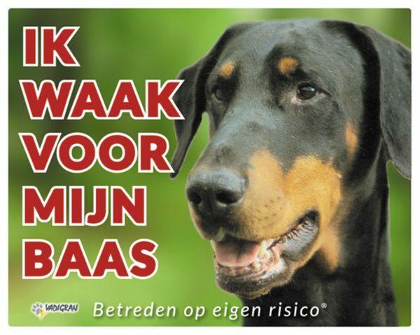 Waakbord foto hond Dobermann NL