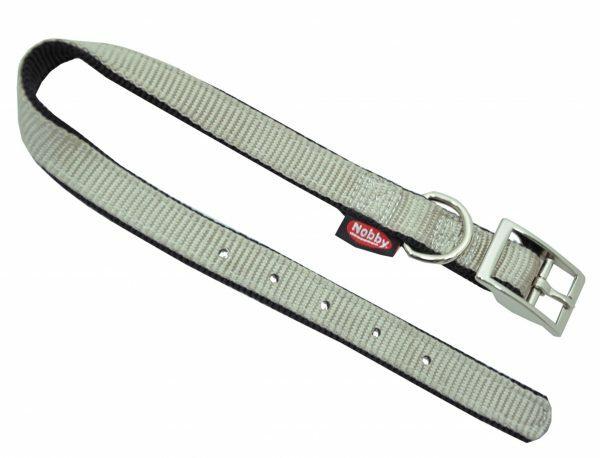 Halsband nylon dubbel zwart/grijs 20mmx50cm