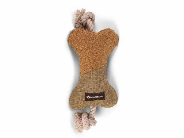 Speelgoed hond kurkbot met koord 25cm