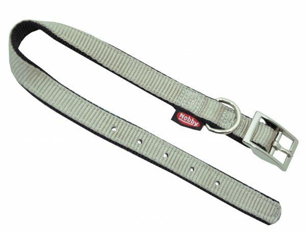 Halsband nylon dubbel zwart/grijs 20mmx45cm
