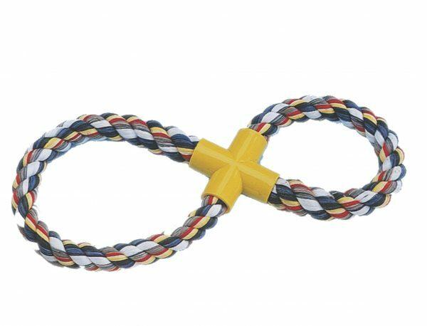 Speelgoed hond katoen 8-vormig multicolor 250gr