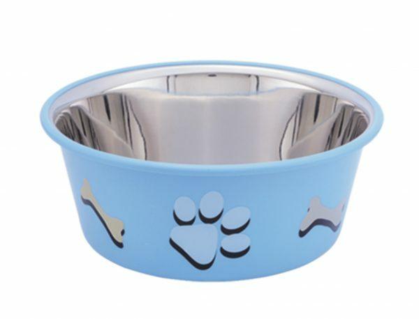 Eetbak inox antislip Cutie Paws blauw 14,5cm 0,90L