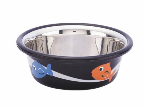 Eetbak inox antislip Cutie Fish zwart 9,5cm 0,25L