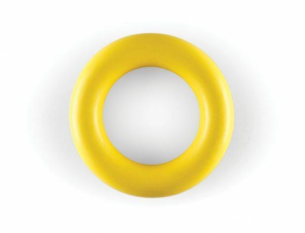 Speelgoed hond rubber ring geel Ø9cm