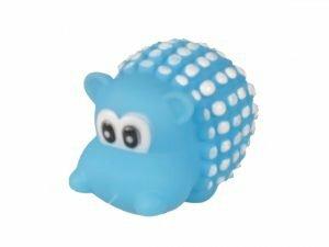 Speelgoed hond vinyl pieper rhino blauw 8,5cm