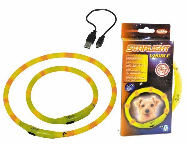LED Lichtgevende halsband Visible geel 10x40cm USB