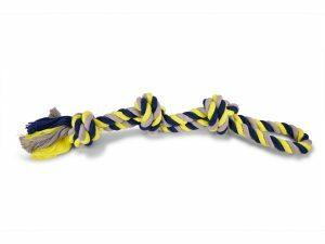 Katoenen koord 4 knopen blauw-geel 260g 58cm