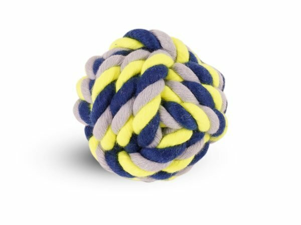Katoenen bal blauw-geel 120g Ø8cm