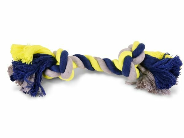Katoenen koord 2 knopen blauw-geel  270g 36cm