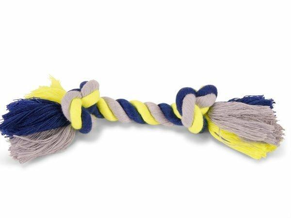 Katoenen koord  2 knopen blauw-geel 50g 20cm