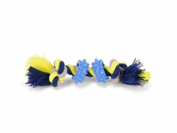 Katoenen koord 2knopen 2ringen blauw-geel 30g 16cm