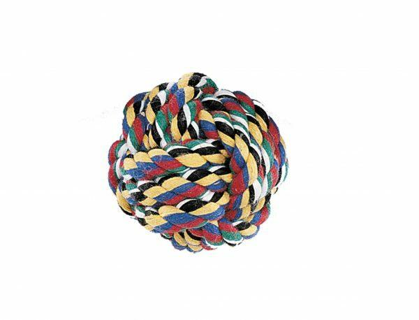 Speelgoed hond katoen bal multicolor 50gr 5,5cm S