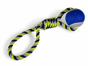Katoenen koord+tennisbal blauw-geel 440g 45cm