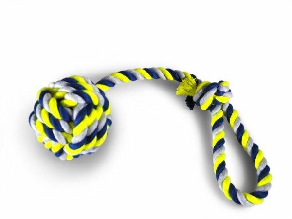 Katoenen koord+handvat+bal Ø10,5cm blauw-geel 54cm